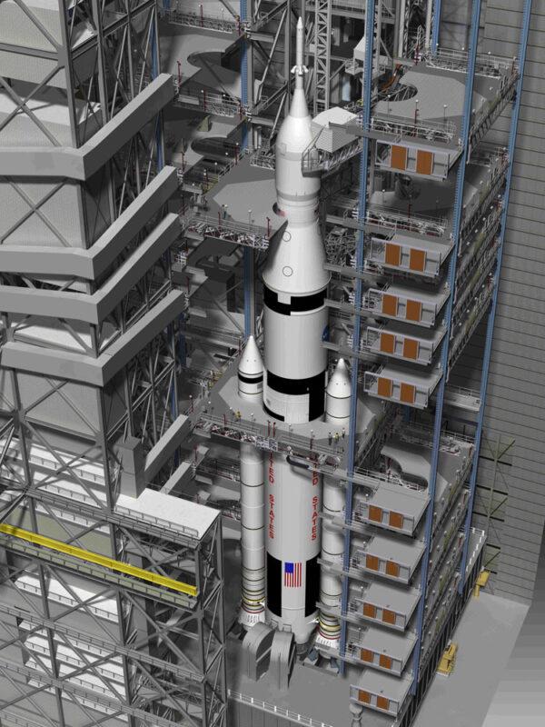 Průřez halou VAB ukazuje deset pater přístupových plošin