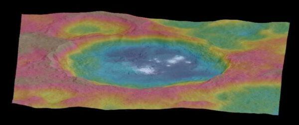 Occator v nepravých barvách, NASA/JPL-Caltech/UCLA/MPS/DLR/IDA
