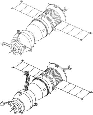 Nákres lodi Sojuz TM (nahoře) a Sojuz T (dole). Nejpatrnější rozdíl je hlavní anténa přibližovacího systému. Ta je umístěna, společně se soustavou antén, na Nákres lodi Sojuz TM (nahoře) a Sojuz T (dole). Nejpatrnější rozdíl je hlavní anténa přibližovacího systému. Ta je umítěna na orbitálním modulu. Další anténa přibližovacího systému směřující dozadu, se nachází na pohonném modulu (na snímku nelze vidět). Zdroj: commons.wikipedia.org Koláž: autor