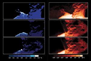 Data z přístroje VIRTIS - vlevo množství povrchového ledu, vpravo teploty