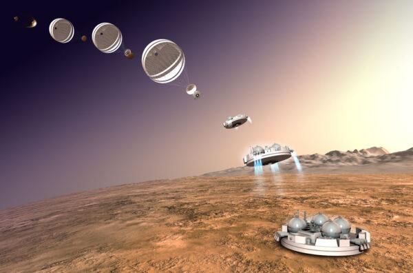 Plánovaný průběh přistání pouzdra Schiaparelli na Marsu
