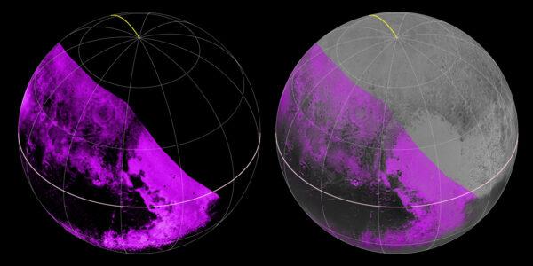 Data ze spektrometru Ralph/LEISA ukazují koncentraci metanu na povrchu Pluta. Čím je fialová barva jasnější, tím je koncentrace vyšší. Naopak v černých oblastech je metanu minimum. Na pravém obrázku vidíme stejnou mapu koncentrace metanu, jen promítnutou na snímek Pluta z kamery LORRI.<br /> Zdroj: http://www.nasa.gov/