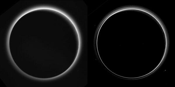 Tento snímek vznikl při zákrytu Slunce Plutem. trpasličí planeta je tu osvětlena z pravé horní strany, přičemž severní pól je nahoře. S minulých týdnech jsme sice viděli podobný snímek, ale tento už je nekomprimovaný, takže má mnohem vyšší kvalitu a vědci z něj mohou vyčíst více informací. Snímek nalevo byl na Zemi zpracován jen minimálně, naopak pravá verze prošla úpravami, kteér měly lépe ukázat vrstevnatost atmosféry. Na levém snímku je vidět, jak jsou krajní oblasti trpasličí planety osvětlené rozptýleným světlem.