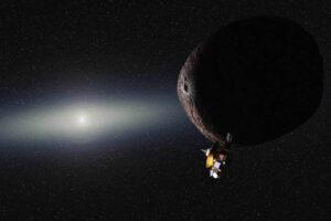 New Horizons v Kuiperově pásu v představě malíře. NASA/JHUAPL/SwRI/Alex Parker