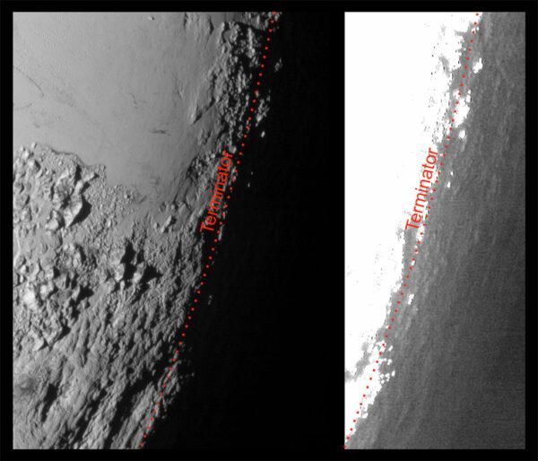 I za hranicí světla a stínu, tedy na noční straně, může být trocha světla. Paprsky se rozptylují v atmoséfře a jemně osvětlují noční stranu. Snímek napravo byl silně zesvětlený, aby byly lépe vidět útvary na povrchu.