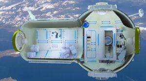 Stanice pro turisty. Zadní dokovací uzel (na obrázku vpravo) je v některých plánech nahrazen servisním modulem lodi Sojuz. V boxech v kulové části se má nacházet sprcha a toaleta. Také se v této části plánují systémy podpory života a kontrolní panel, ze kterého se má ovládat celá stanice. Zdroj: tuvie.com