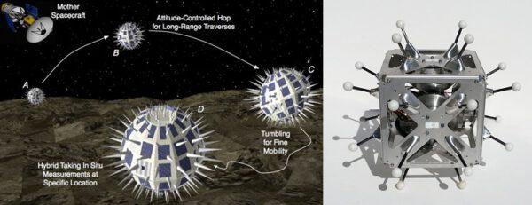 Návrhy na sondu zkoumající měsíc Phobos a první realizovaná verze Hedgehogu zdroje: space.com, nasa.gov