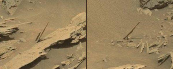 Sol 1087 kamenné jehlice, NASA/JPL/MSSS