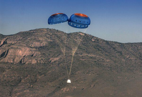 Test padákového systému lodi New Shepard
