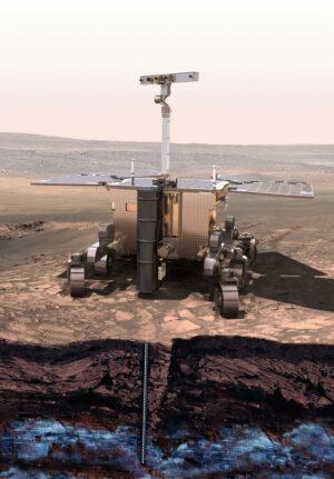 Evropský rover při vrtání do hloubky až dvou metrů