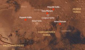 Zvažované lokality pro přistání evropského roveru