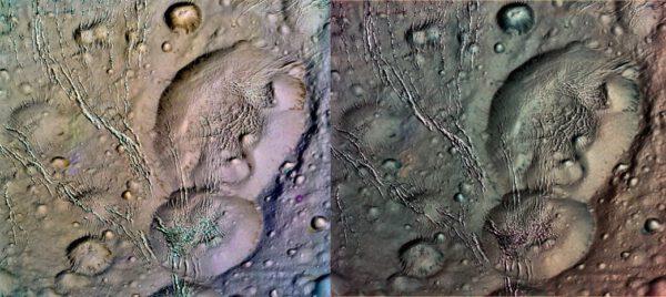 Severní pól Enceladu po zpracování v barvách.