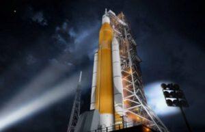 Zatím jen počítačově generovaný obrázek rakety SLS