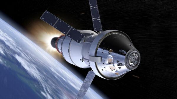 Orion při práci horního stupně