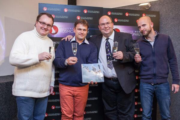 Slavnostní přípitek - zleva Dušan Majer - Ondřej Šamárek - Tomáš Přibyl - Lukáš Záhoř, šéfproducent Stream.cz