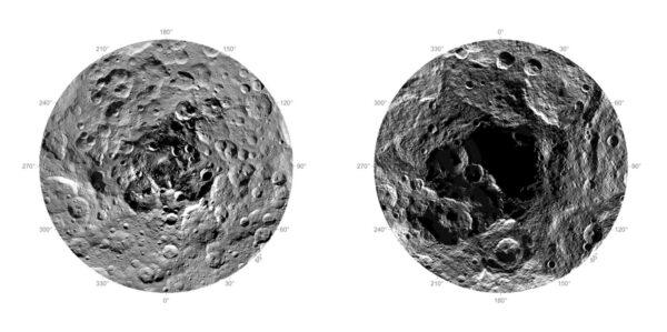 Severní a jižní pól trpasličí planety Ceres
