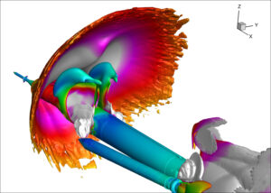 Počítačová simulace rázové vlny po odhození urychlovacích bloků.