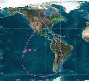 Oběžná dráha typu Tundra - v tomto případě jde o satelit Sirius XM