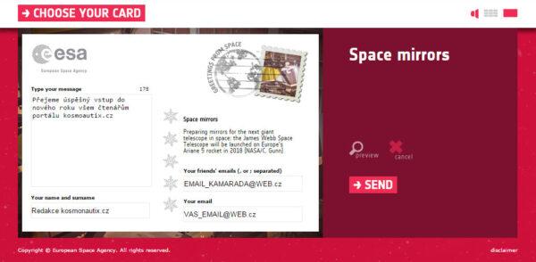 3. obrazovka - Tady napíšete přání pro adresáta (limit 250 znaků), uvedete svůj podpis, aby kamarád věděl, o d koho mu zpráva přišla, vpylníte adresátovu a svoji mailovou adresu a kliknete na SEND