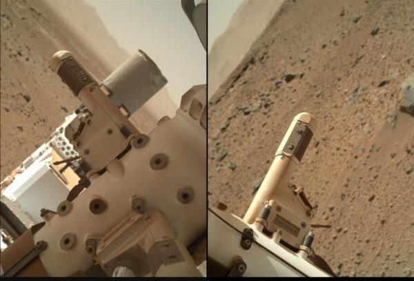 Sol 526 - Kamera MAHLI zkontrolovala stav dvou snímačů meteostanice REMS - jeden z nich je od přistání nefunkční (zřejmě vinou zásahu kamínkem)