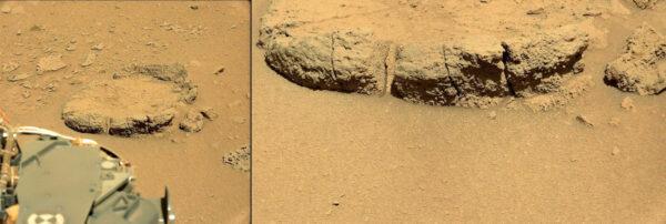 Sol 529 - fotky zajímavého kamene , na jehož stěnách vidíme zajímavé pruhy vytvořené erozí.
