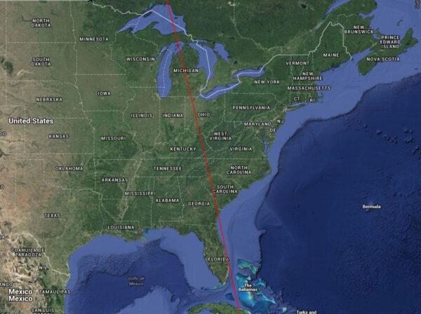 Přelet Kosmosu 2511 nad Severní Amerikou