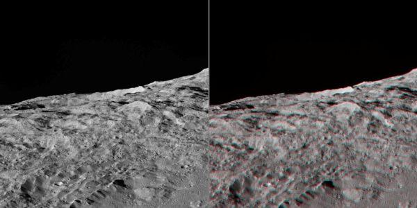 Ceres – oblast 60° jižně. Zdroj: NASA/JPL-Caltech/UCLA/MPS/DLR/IDA