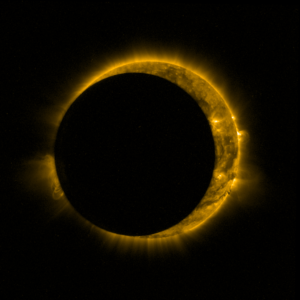 Zatmění v září 2015 pohledem sondy Proba 2. Foto: ESA