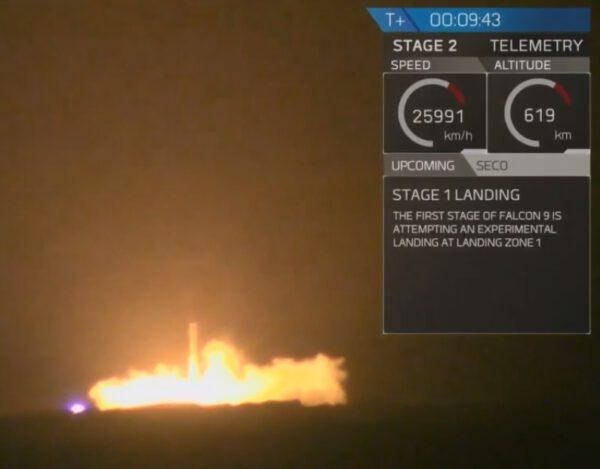 První stupeň Falconu 9 přistává na Floridě. Zdroj: SpaceX