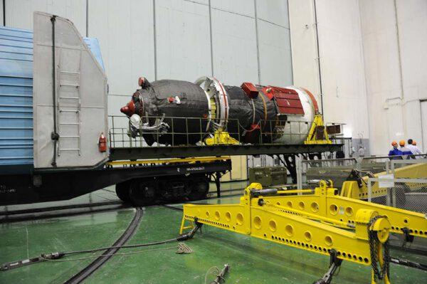 Progress MS po vybalení z transportního vagonu
