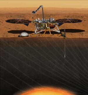 Vizualizace sondy InSight na povrchu - přístroj SEIS vidíme u levé nohy landeru
