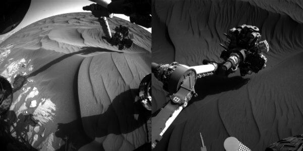 Sol 1184 robotická paže zkoumá duny. Foto: NASA/JPL-Caltech/MSSS
