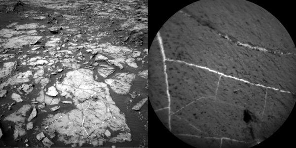 Sol 1185 žilky z NavCam a ChemCam. Fot: NASA/JPL-Caltech