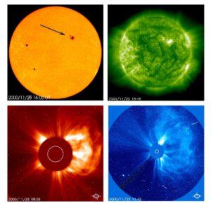 Sluneční skvrna, erupce a výron hmoty z koróny (CME). Foto: ESA&NASA