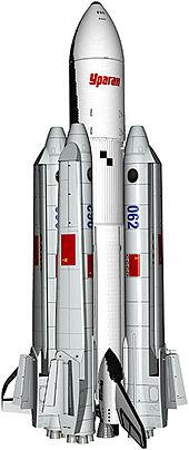 Nikdy neletěná verze znovupoužitelné rakety Eněrgija Uragan