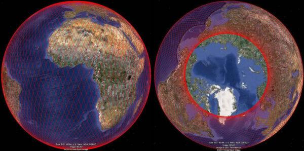 Projekce průletů Jasonu-3 nad zemským povrchem