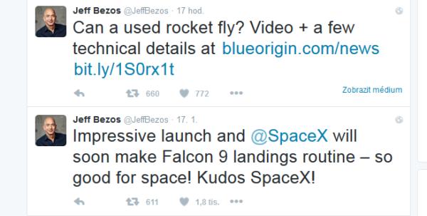Tweet Jefa Bezose o gratulaci ke skoro úspěšnému přistíní SpaceX a tweet o úspěšném letu New Shepardu