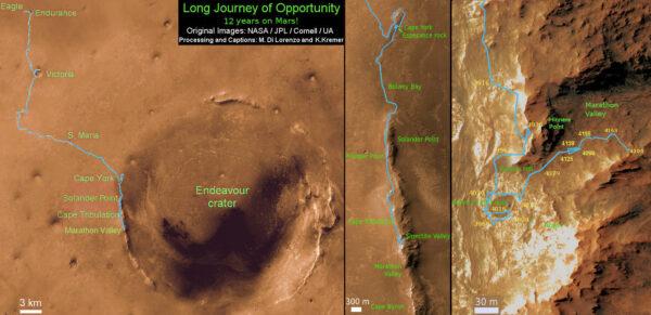 Trasa Opportunity od přistání v roce 2004 až po letošní rok. NASA/JPL/Cornell/UA/Marco di Lorenzo/Ken Kremer