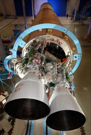 Trysky motoru RD-180 na raketě Atlas V. Foto: NASA