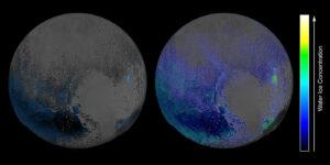 Mapa povrchového vodního ledu na Plutu