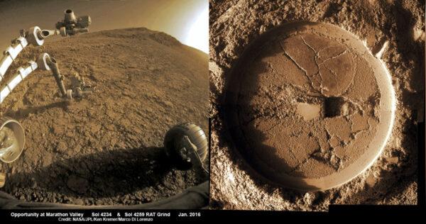 Sol 4234 průzkum v Marathon Valley. NASA/JPL/Ken Kramer/Marco di Lorenzo
