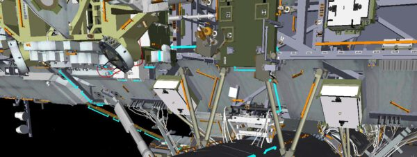 Modře josu vyznačena místa, kterých se astronauti při přesunu mohou držet