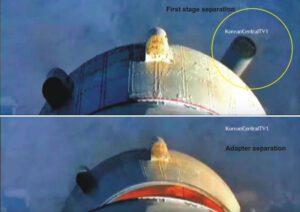 Pohľad na oddelenie prvého stupňa rakety Unha-3