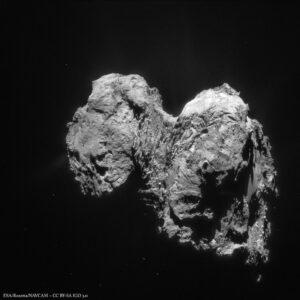 Pohled na 67P, který se Rosettě naskytl 28. ledna.