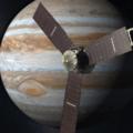 Juno u Jupiteru v představě malíře. Zdroj: NASA/JPL