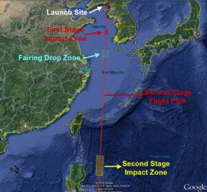 Trajektória posledného letu rakety Unha-3 s vyznačenými dopadovými oblasťami