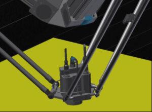 Ukotvení vrtacího zařízení k pneumatickému manipulačnímu robotovi pomocí kulového čepu a jemné senzoriky