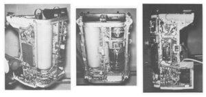 Útroby AMU (velká nádrž vlevo obsahuje peroxid, malá kulová vpravo tlakovací dusík, pod ní kyslíková nádrž environmentálního systému)