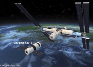 Teoretická podoba budoucí čínské orbitální stanice.