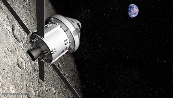 Vizualizace průletu Orionu kolem Měsíce,